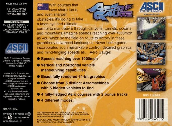 Back boxart of the game AeroGauge (Australia) on Nintendo 64