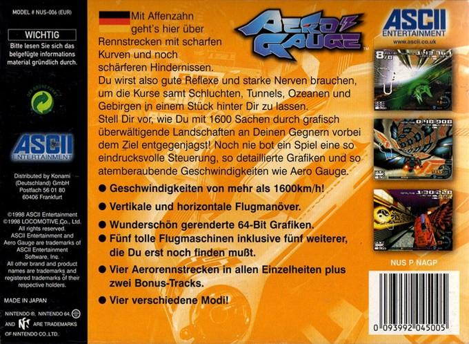 Back boxart of the game AeroGauge (Europe) on Nintendo 64