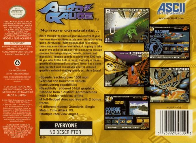 Back boxart of the game AeroGauge (United States) on Nintendo 64
