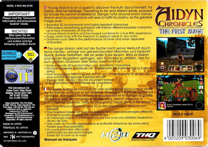 Back boxart of the game Aidyn Chronicles - The First Mage (Europe) on Nintendo 64