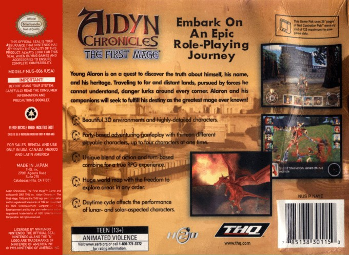 Back boxart of the game Aidyn Chronicles - The First Mage (United States) on Nintendo 64