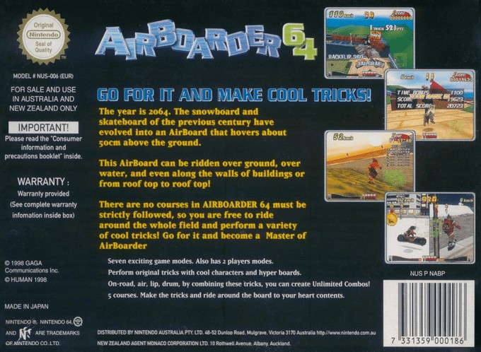 Back boxart of the game Airboarder 64 (Australia) on Nintendo 64