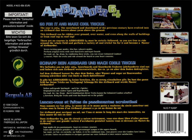 Back boxart of the game Airboarder 64 (Europe) on Nintendo 64