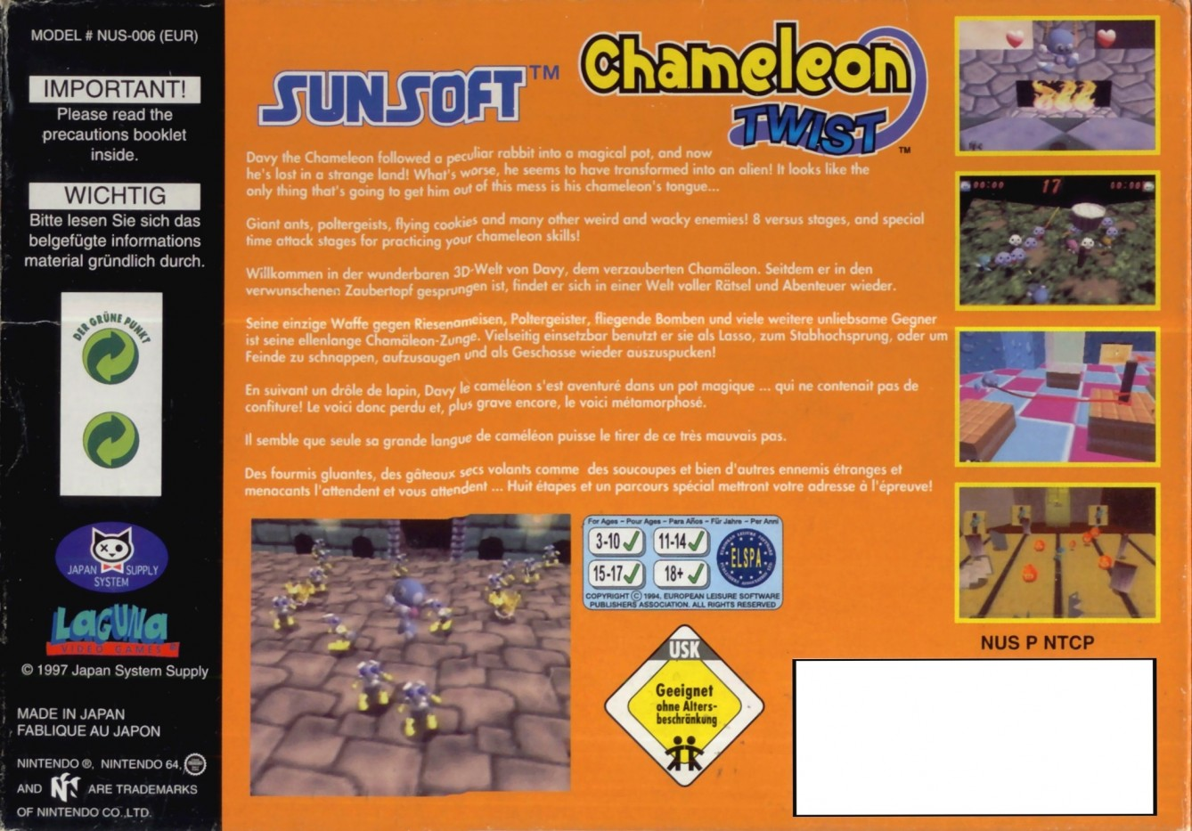 Back boxart of the game Chameleon Twist (Europe) on Nintendo 64