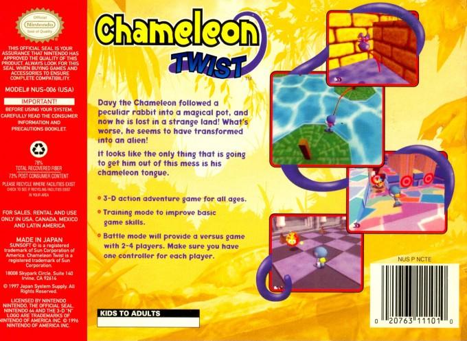 Back boxart of the game Chameleon Twist (United States) on Nintendo 64