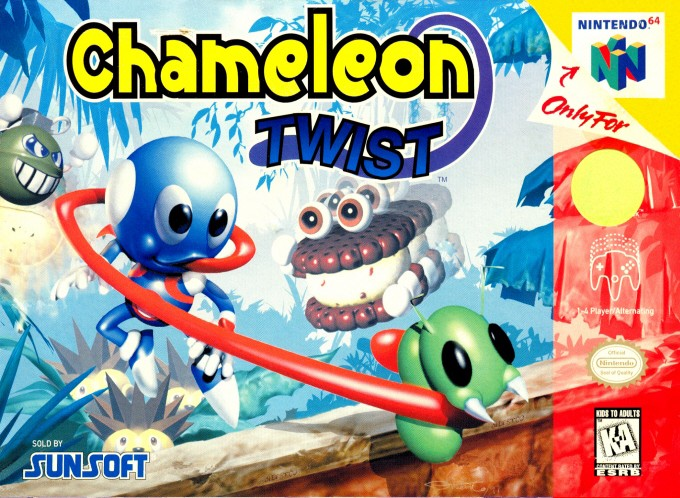 Front boxart of the game Chameleon Twist (United States) on Nintendo 64