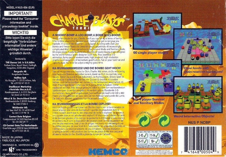 Back boxart of the game Charlie Blast's Territory (Europe) on Nintendo 64