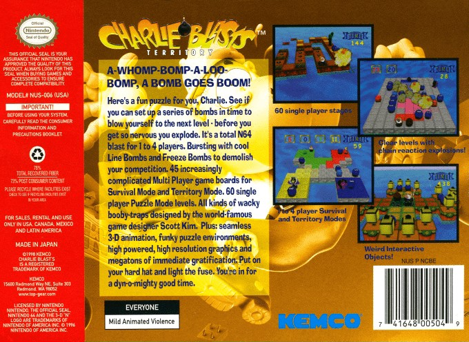 Back boxart of the game Charlie Blast's Territory (United States) on Nintendo 64