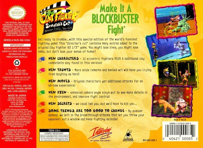 Back boxart of the game Clay Fighter - Sculptor's Cut (United States) on Nintendo 64