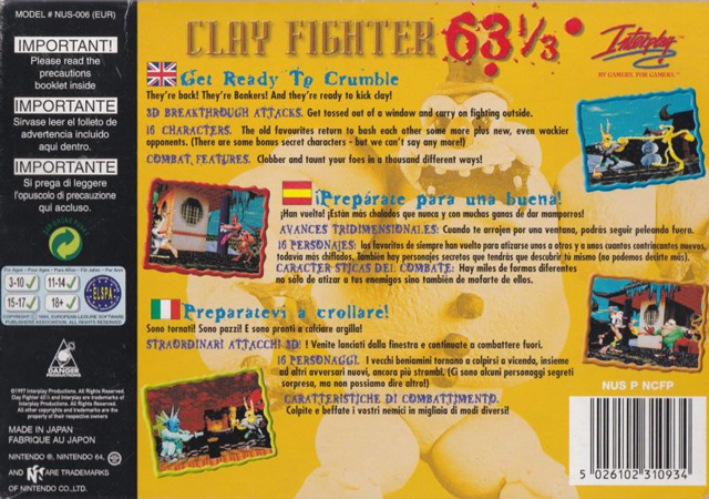 Back boxart of the game Clay Fighter 63 1-3 (Europe) on Nintendo 64