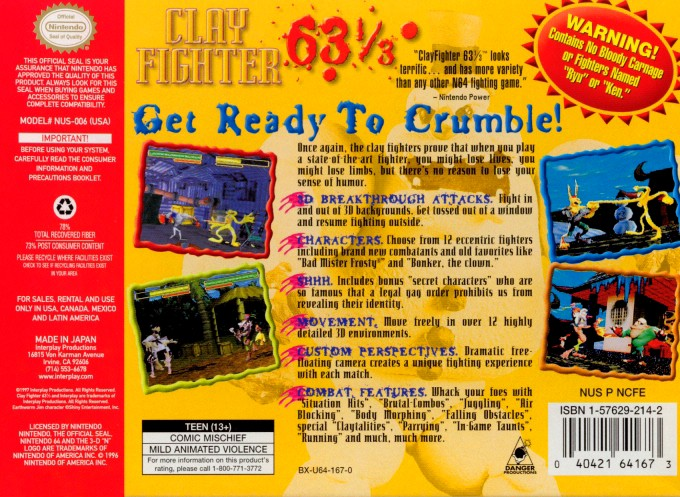 Back boxart of the game Clay Fighter 63 1-3 (United States) on Nintendo 64