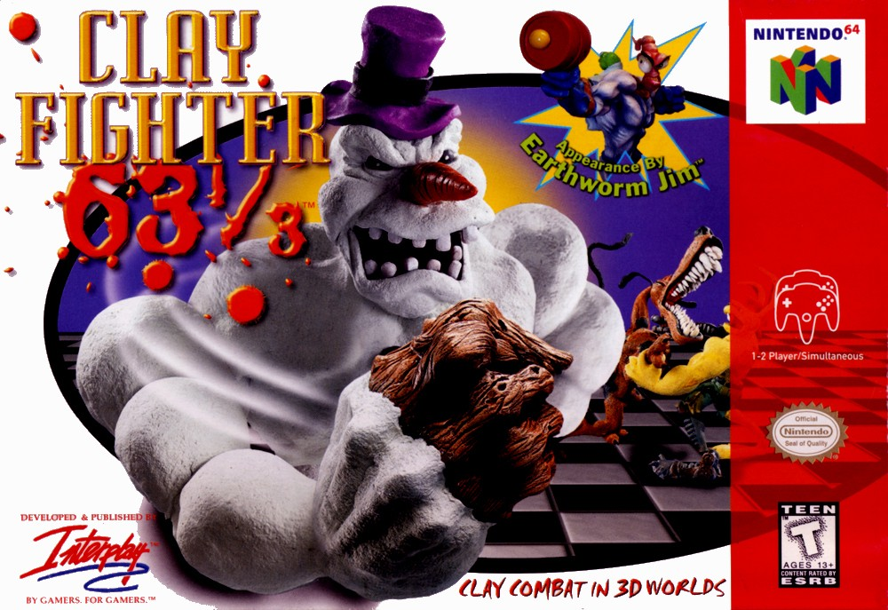 Front boxart of the game Clay Fighter 63 1-3 (United States) on Nintendo 64