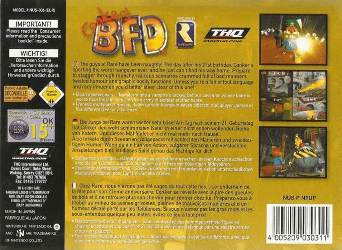 Back boxart of the game Conker's Bad Fur Day (Europe) on Nintendo 64