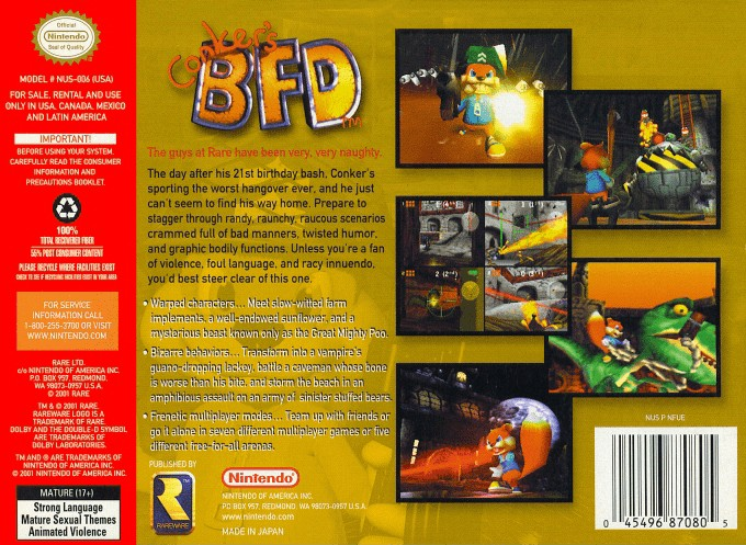 Back boxart of the game Conker's Bad Fur Day (United States) on Nintendo 64