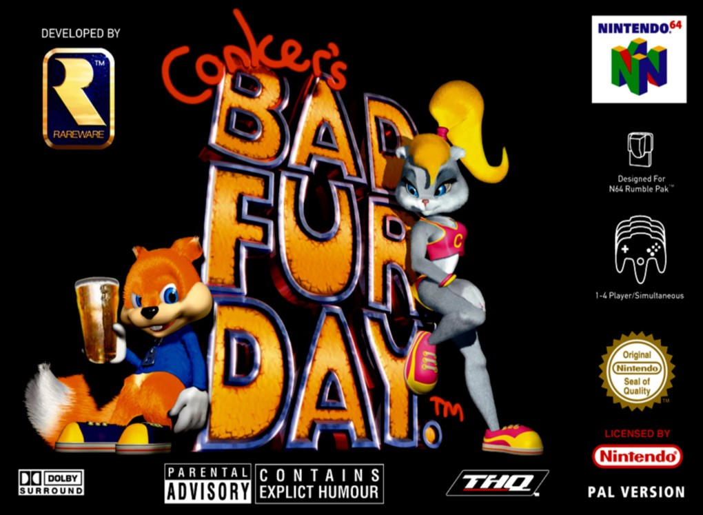 Front boxart of the game Conker's Bad Fur Day (Europe) on Nintendo 64