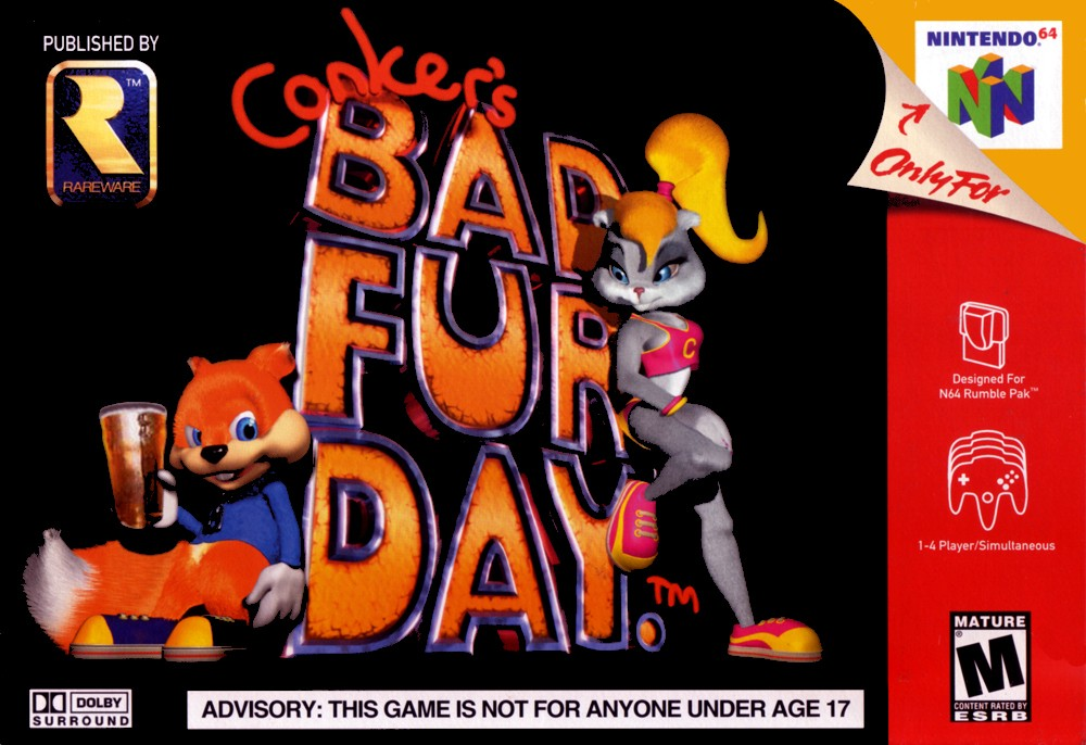 Front boxart of the game Conker's Bad Fur Day (United States) on Nintendo 64
