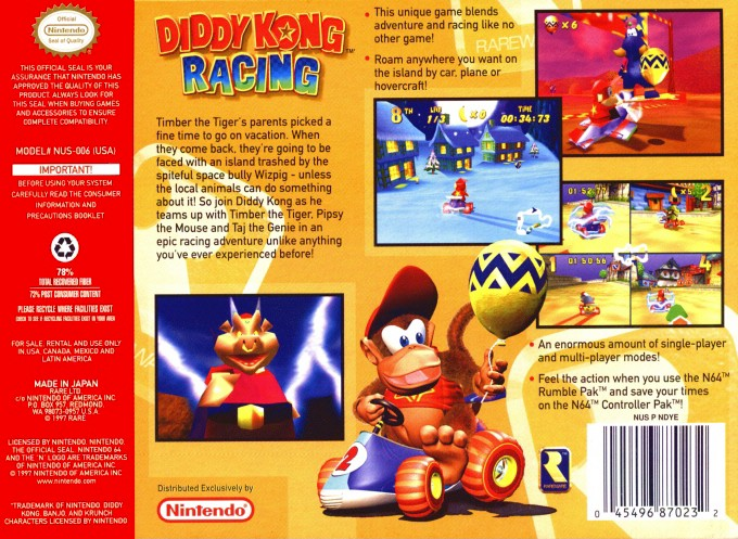 Diddy Kong Racing Boxarts For Nintendo 64 The Video Games Museum