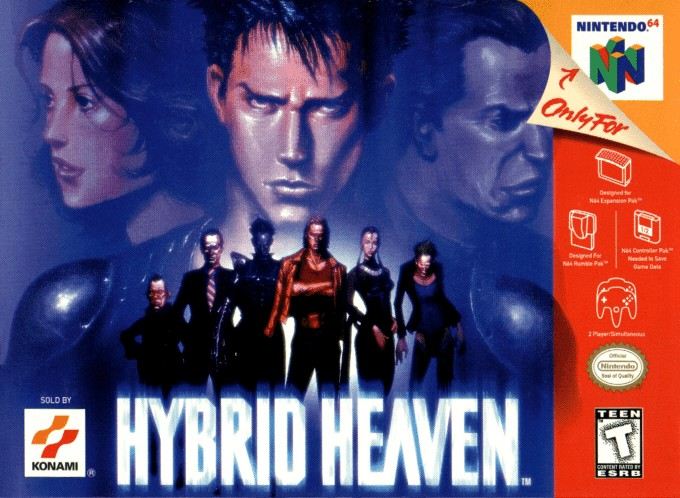 Front boxart of the game Hybrid Heaven (United States) on Nintendo 64
