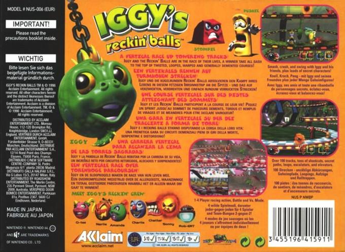 Back boxart of the game Iggy's Reckin' Balls (Europe) on Nintendo 64