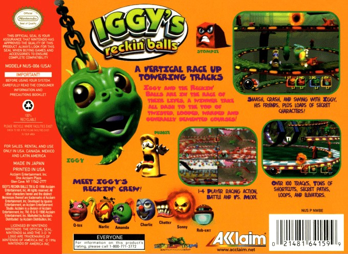 Back boxart of the game Iggy's Reckin' Balls (United States) on Nintendo 64