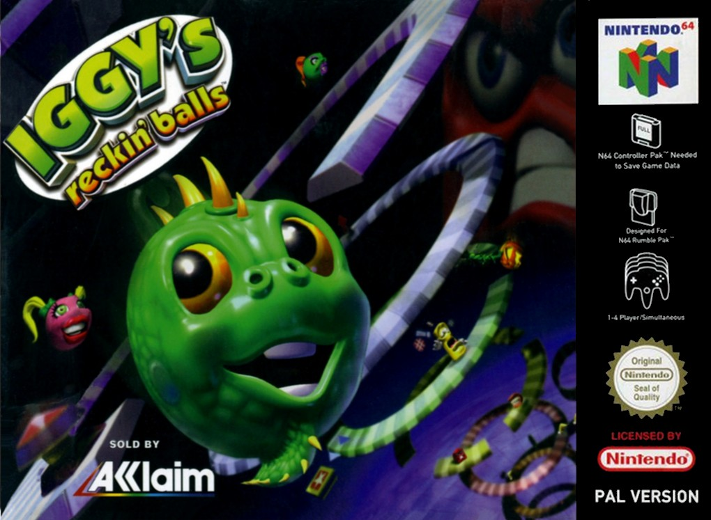 Front boxart of the game Iggy's Reckin' Balls (Europe) on Nintendo 64