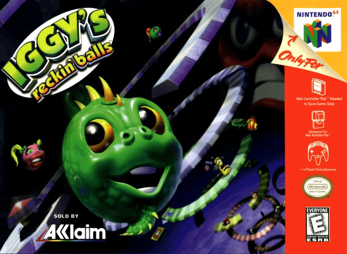 Front boxart of the game Iggy's Reckin' Balls (United States) on Nintendo 64