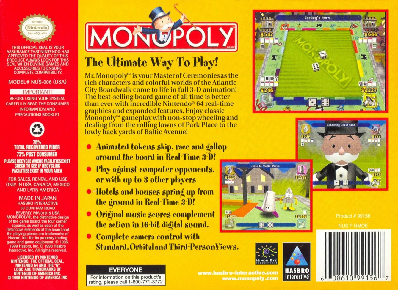 Back boxart of the game Monopoly (United States) on Nintendo 64