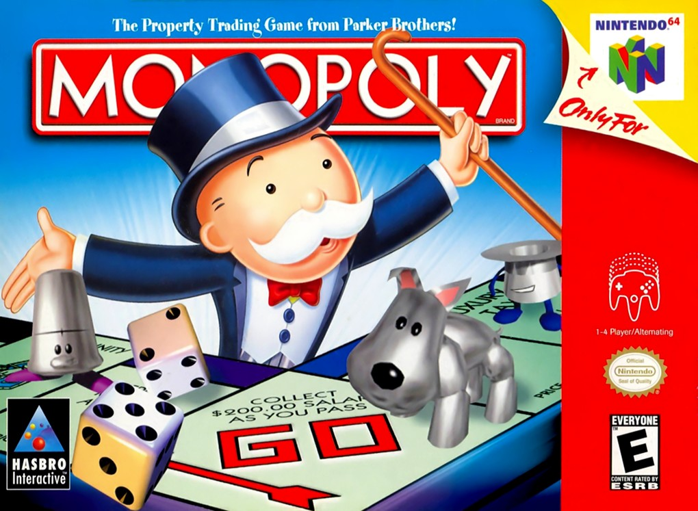 Front boxart of the game Monopoly (United States) on Nintendo 64