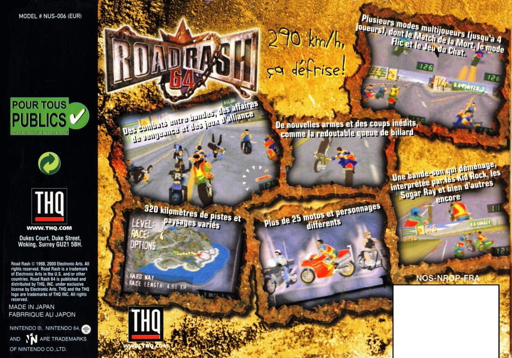 Back boxart of the game Road Rash 64 (Europe) on Nintendo 64