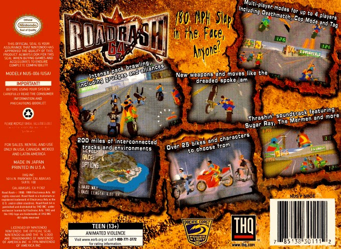 Back boxart of the game Road Rash 64 (United States) on Nintendo 64