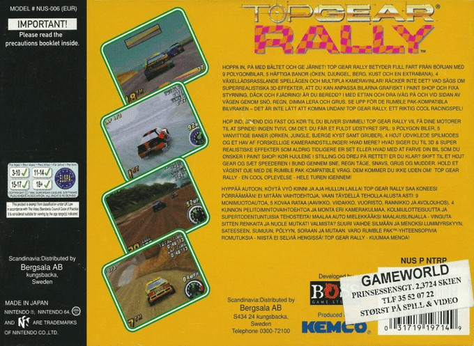 Back boxart of the game Top Gear Rally (Europe) on Nintendo 64