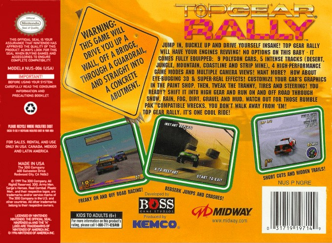 Back boxart of the game Top Gear Rally (United States) on Nintendo 64