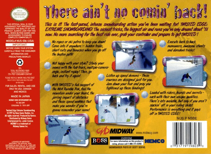 Back boxart of the game Twisted Edge Extreme Snowboarding (United States) on Nintendo 64