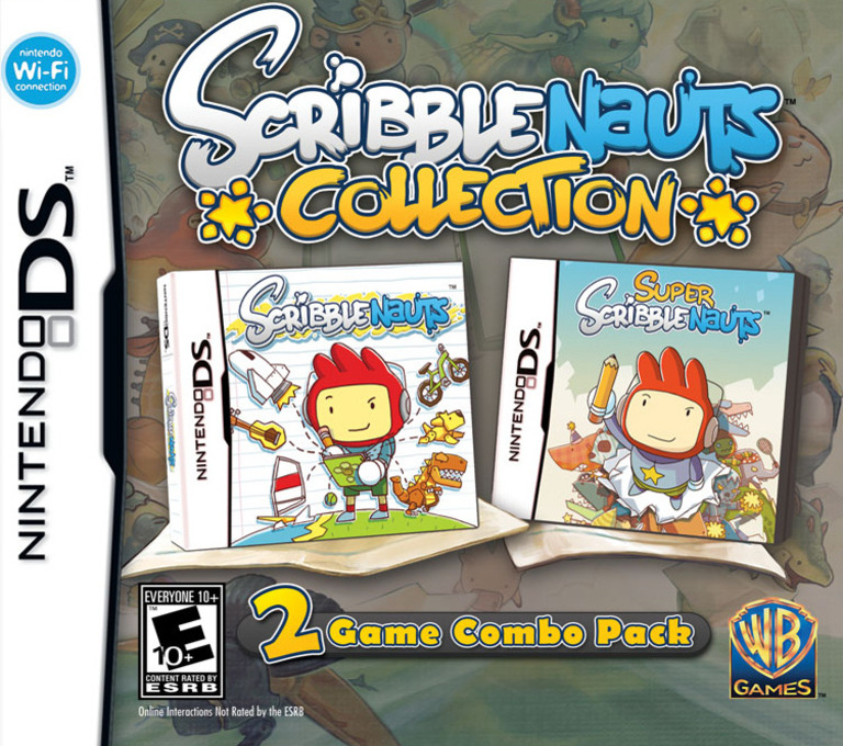 Front boxart of the game Scribblenauts Collection (United States) on Nintendo DS