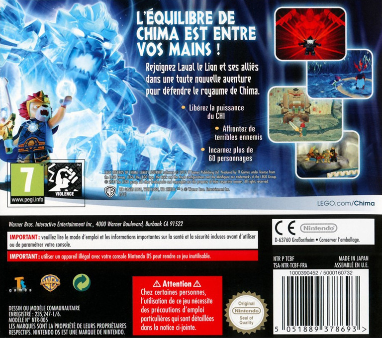 Back boxart of the game LEGO Legends of Chima - Laval's Journey (France) on Nintendo DS