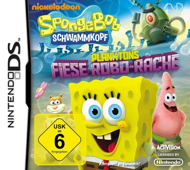 Front boxart of the game SpongeBob SquarePants - Plankton's Robotic Revenge (Europe) on Nintendo DS