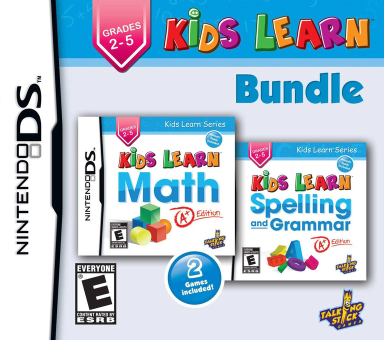 Front boxart of the game Kids Learn - Math and Spelling Bundle (United States) on Nintendo DS