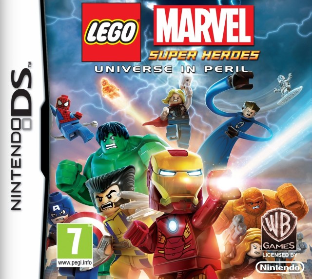 Front boxart of the game LEGO Marvel Super Heroes - Universe in Peril (Europe) on Nintendo DS