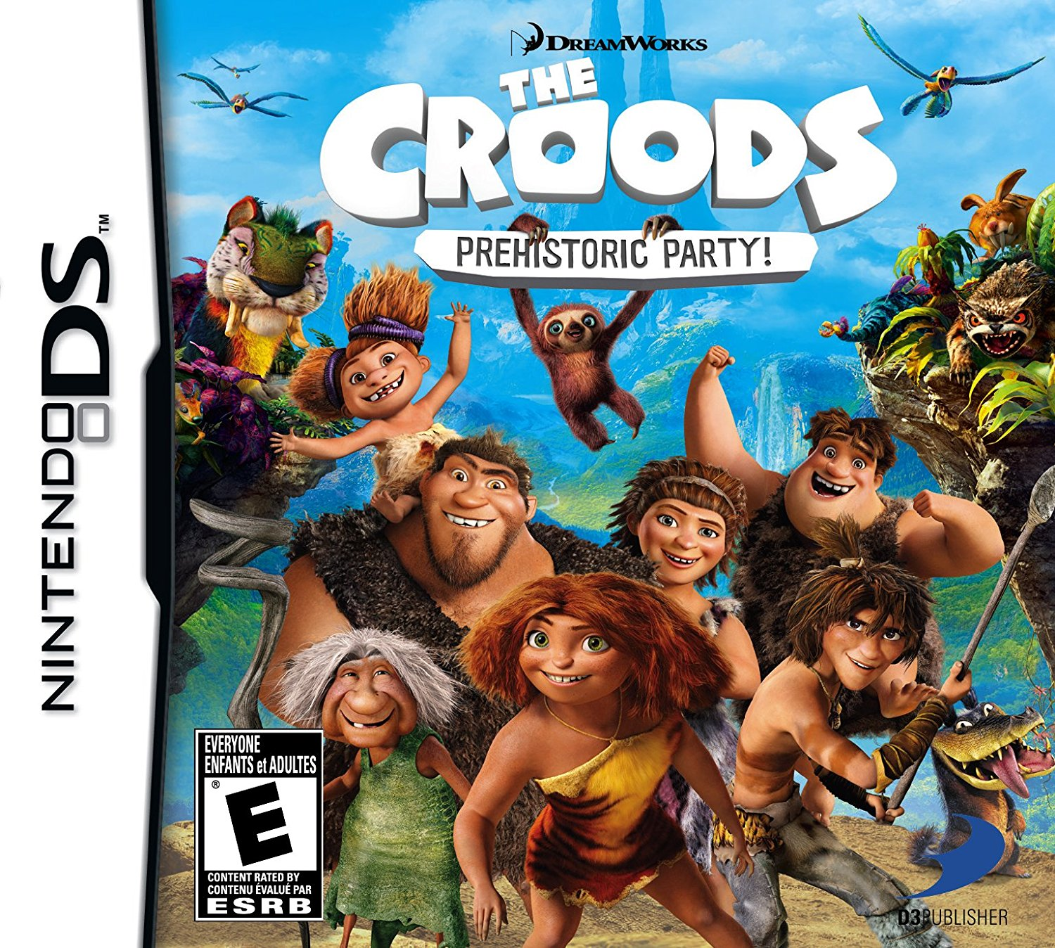Front boxart of the game Croods, The - Prehistoric Party! (United States) on Nintendo DS