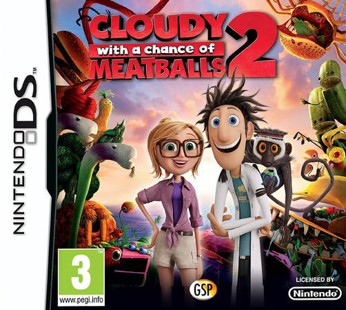 Front boxart of the game Cloudy with a Chance of Meatballs 2 (Europe) on Nintendo DS