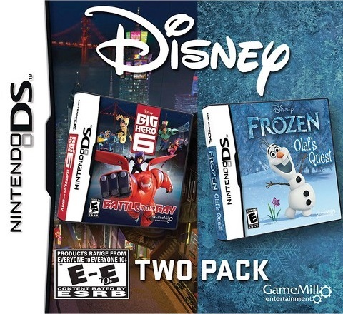 Front boxart of the game Disney Two Pack - Frozen Olaf's Quest + Big Hero 6 - Battle in the Bay (United States) on Nintendo DS