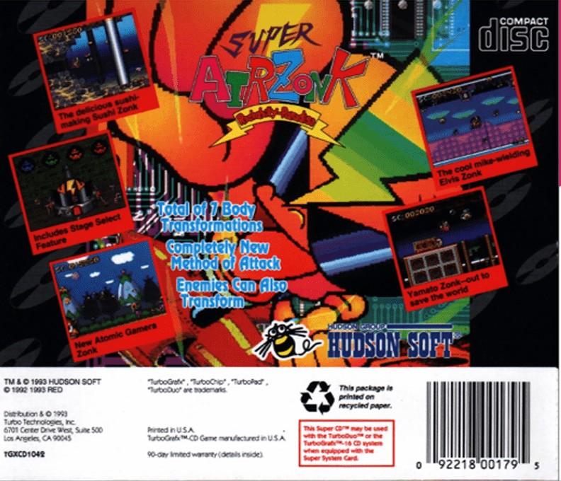 Back boxart of the game CD Denjin Rockabilly Tengoku (United States) on NEC PC Engine CD