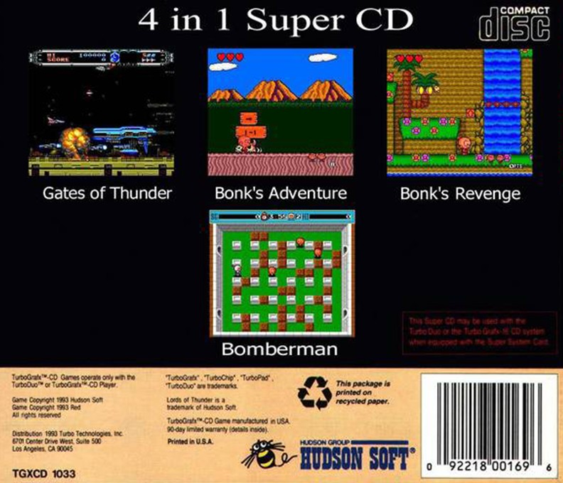 Back boxart of the game 4 in 1 Super CD (United States) on NEC PC Engine CD