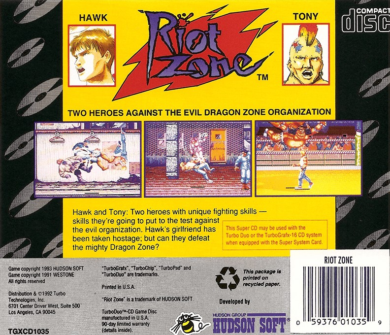 Back boxart of the game Riot Zone (United States) on NEC PC Engine CD