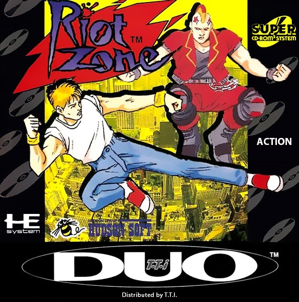 Front boxart of the game Riot Zone (United States) on NEC PC Engine CD