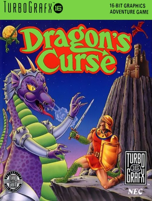 Front boxart of the game Dragon's Curse (United States) on NEC PC Engine