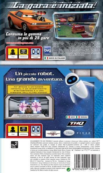 Back boxart of the game Double Pack - Cars + WALL-E (Europe) on Sony PSP