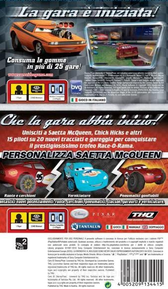 Back boxart of the game Double Pack - Cars + Cars - Race-O-Rama (Europe) on Sony PSP