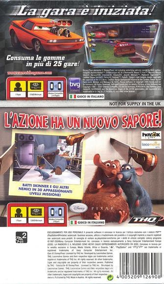 Back boxart of the game Double Pack - Cars + Ratatouille (Europe) on Sony PSP
