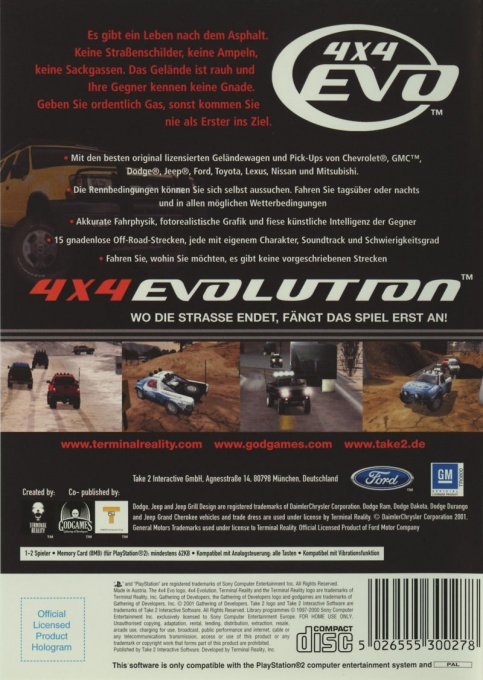 Back boxart of the game 4X4 Evolution (Germany) on Sony Playstation 2